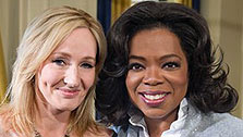 In this photo taken Aug. 30, 2010 and provided by Harpo Productions, Inc., talk-show host Oprah Winfrey, right, is seen with 'Harry Potter' author J. K. Rowling during a taping in Edinburgh, Scotland for an episode of 'The Oprah Winfrey Show' to air nationally on Friday, Oct. 1, 2010.  (Photo courtesy of AP Photo/Harpo Productions, Inc., Rich Stone)